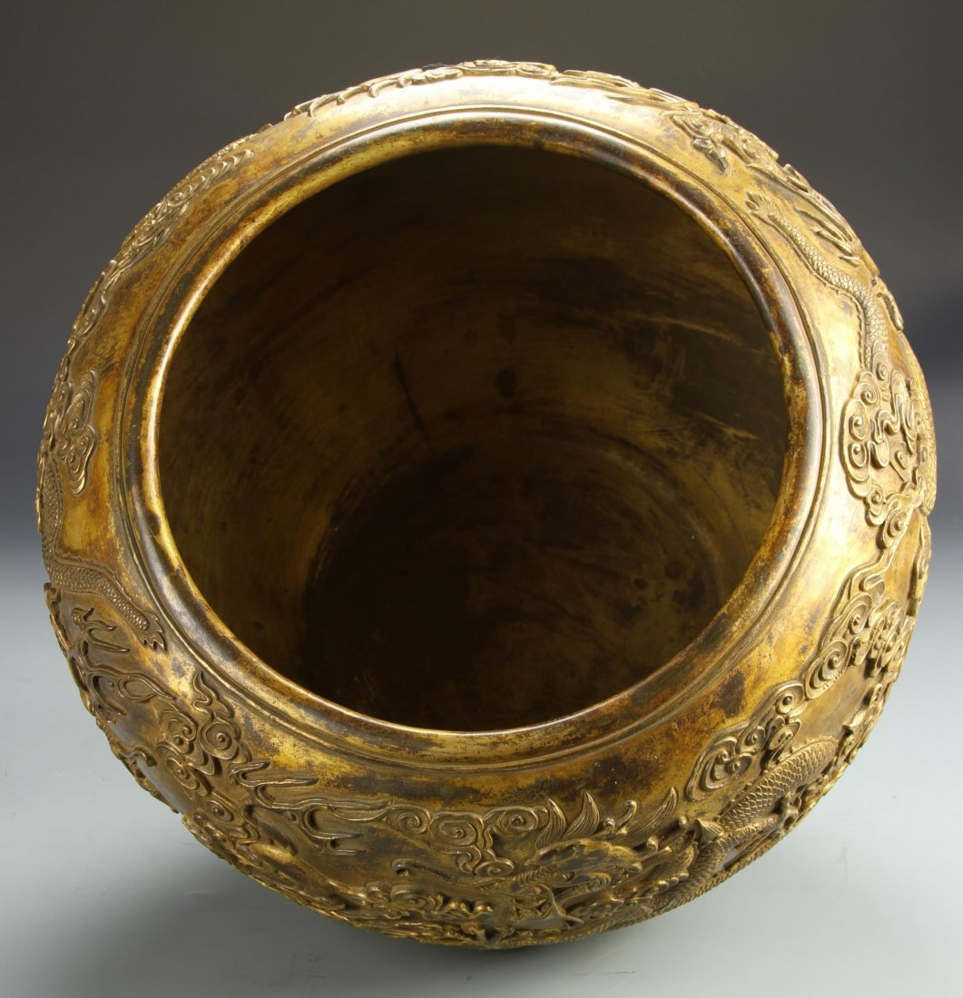 Chinese Gilt-Bronze Dragon Jardinière - 5