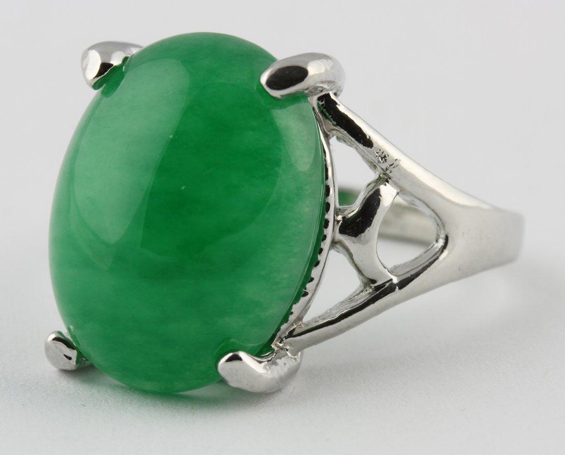 Chinese White Gold and Jadeite Ring