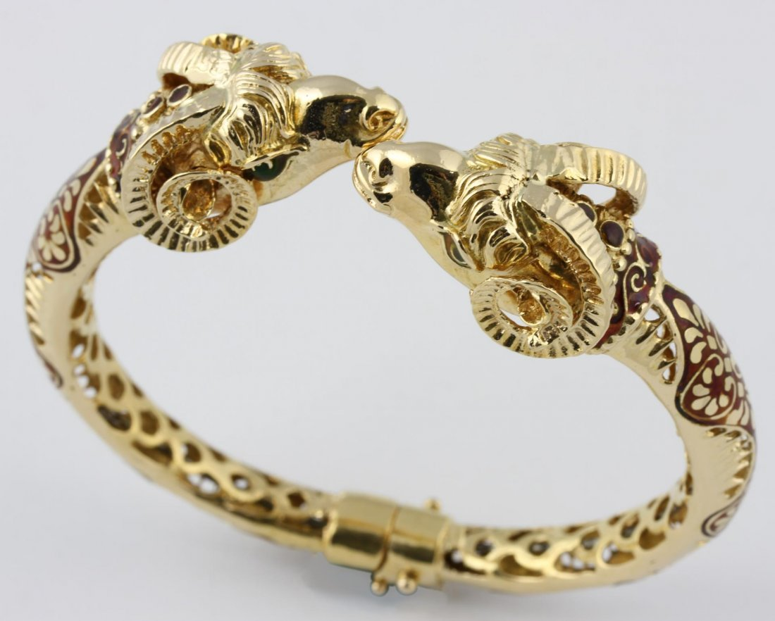 Chinese Gold Ram's Head Bracelet