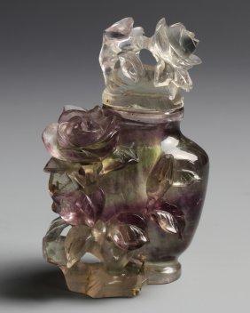 Chinese Rose Quartz Vase