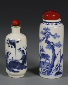 Two Chinese Blue and White Snuff Bottles