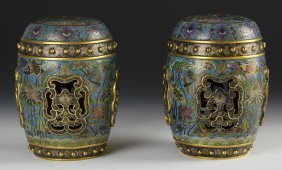Chinese Cloisonne Drums