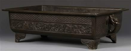 Chinese Rare Rectangular Bronze Censer