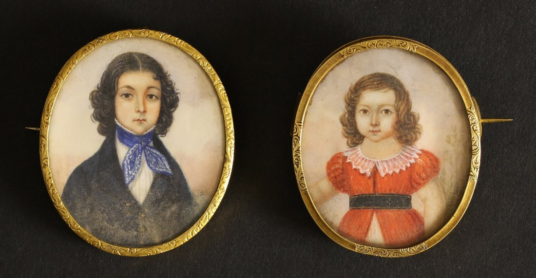 Two Portrait Miniatures on Mother-of-Pearl