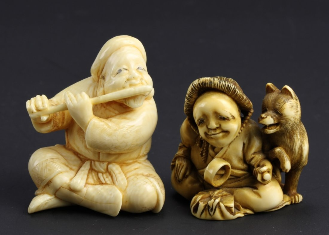 Two Japanese Ivory Natsukate Figures