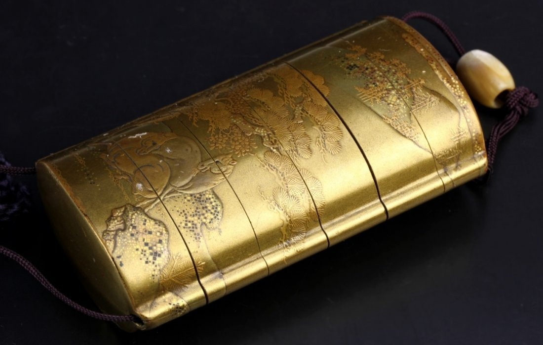 Japanese Meiji Gold Lacquer Five-Tier Inro