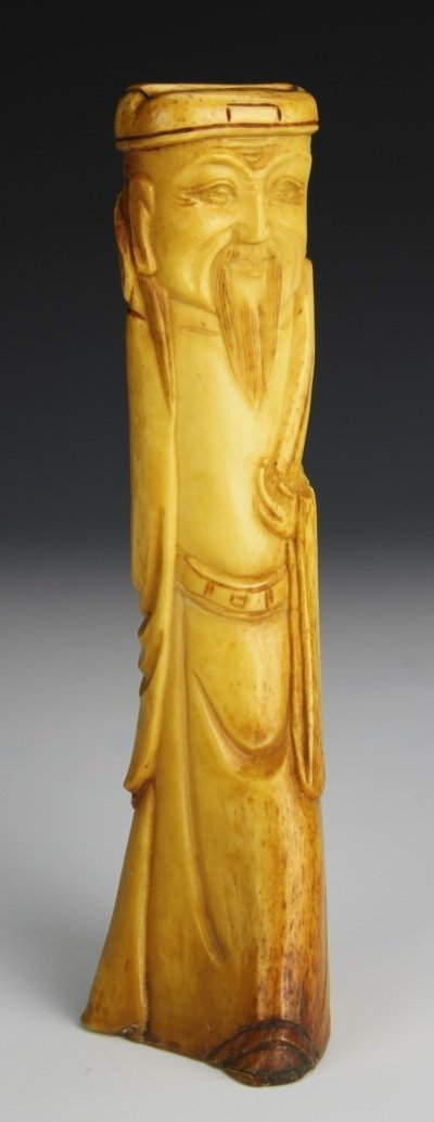 Chinese Carved Bone Scholar Figure