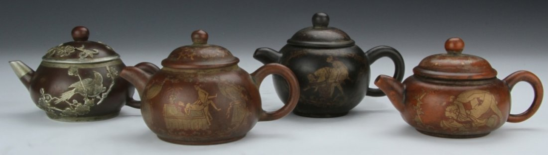 Four Chinese Yixing Teapots