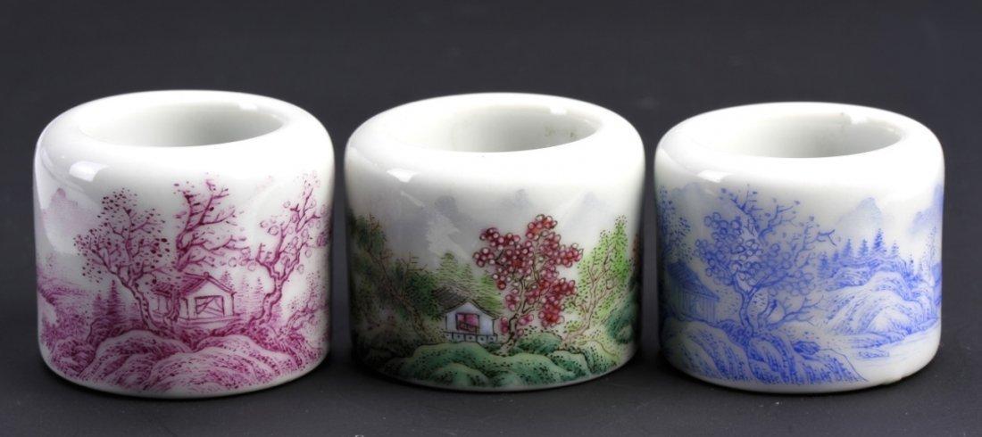Three Chinese Enameled Porcelain Rings