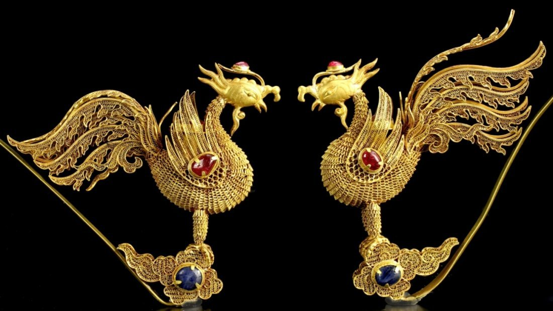 Pair of Chinese Gold Filigree Hairpins
