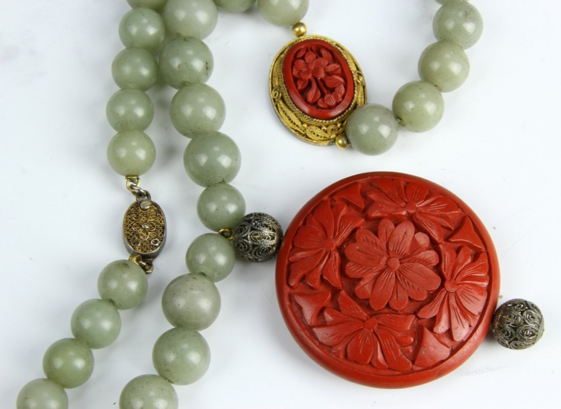 Chinese Jade and Cinnabar Necklace