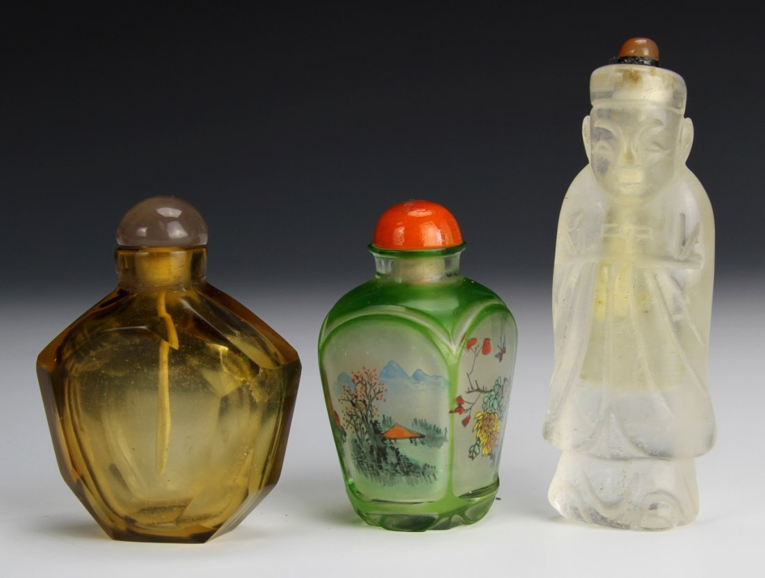 Three Crystal and Glass Chinese Snuff Bottles