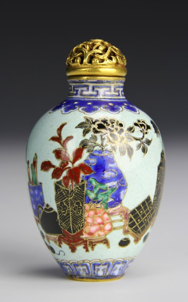 Chinese Painted Copper Snuff Bottle