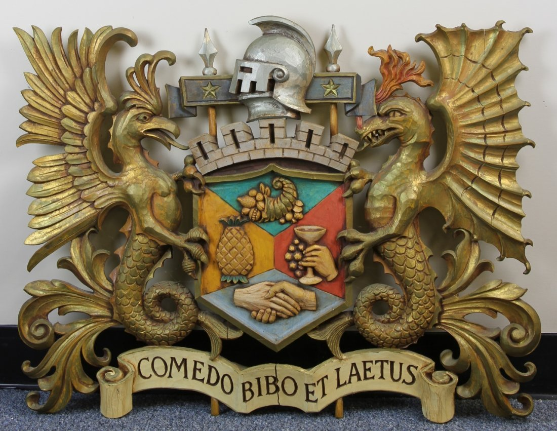 Carved Wood Coat of Arms