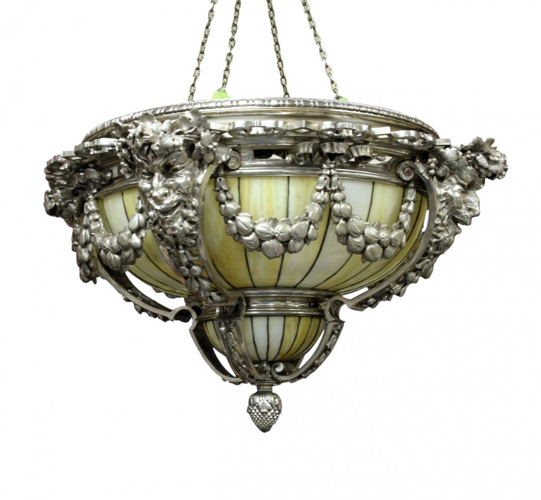 Louis C. Tiffany Silver Plated Dome Chandelier