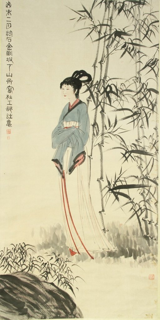 Chinese Scroll Painting of a Woman in a Garden