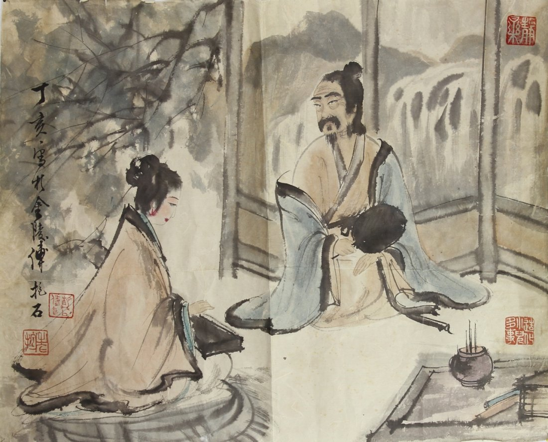 Chinese Scroll Painting of a Man and Woman