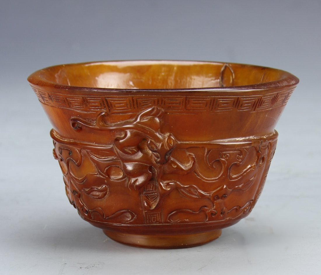 Chinese Carved Horn Bowl