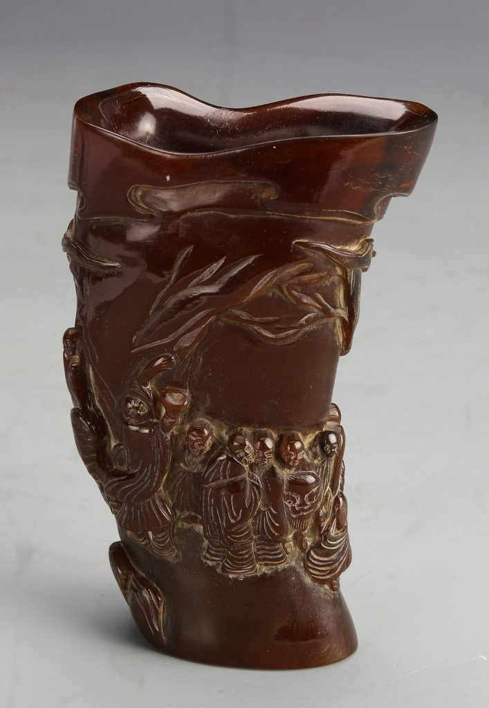 Chinese Carved Horn Libation Cup
