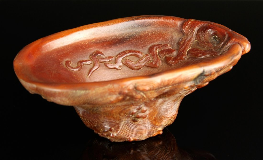Chinese Rhinoceros Horn Libation Cup