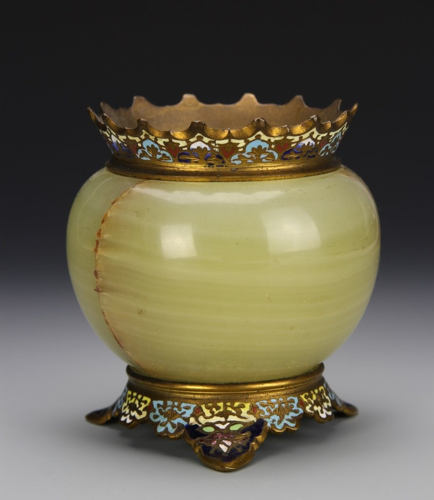 Chinese Marble and Cloisonne Lantern