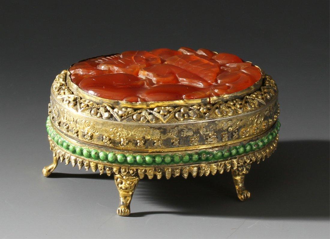Chinese Agate Jewelry Box