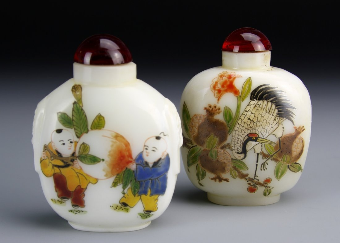 Pair of Chinese Peking Glass Snuff Bottles
