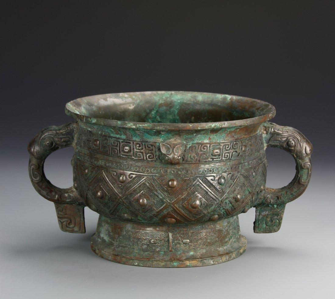 Chinese Bronze Keci Vessel