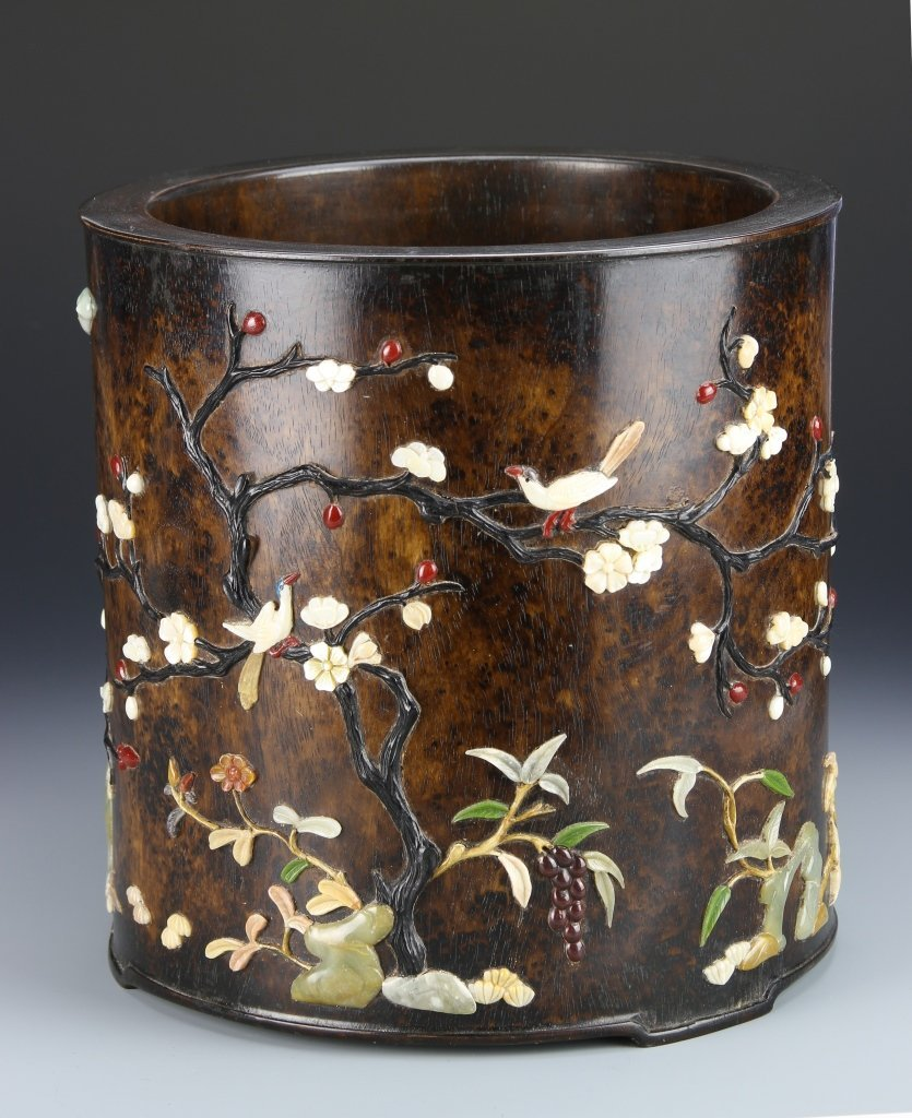 Chinese Huanghuali Brush Pot with Inlays