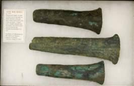 Three Pieces of Aztec Copper Hoe Money
