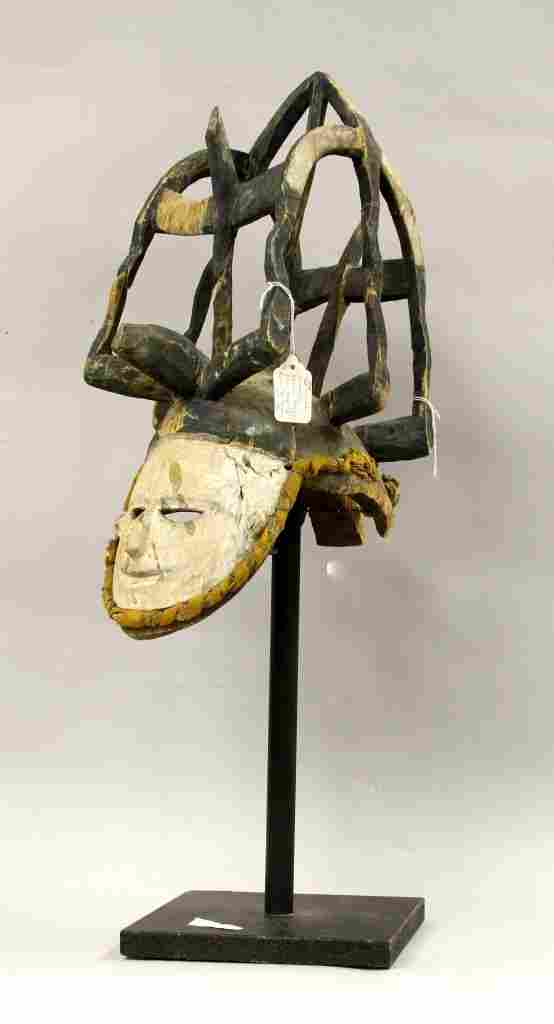 African Igbo Mask with Elaborate Head Dress