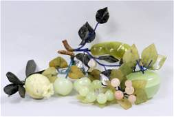 Six Chinese Jade and Hard Stone Fruit Clusters