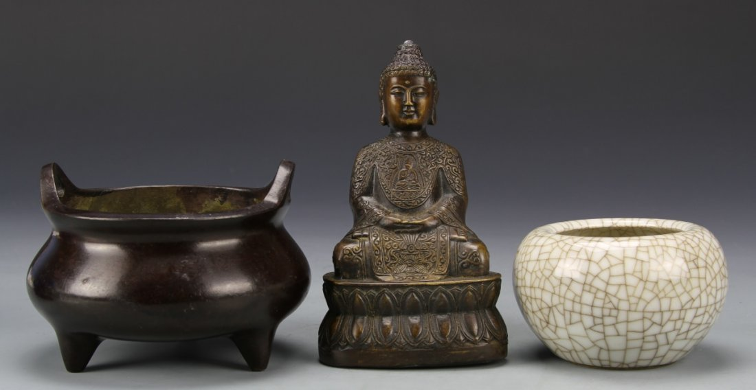 Chinese Censer, Water Cup, and Buddha