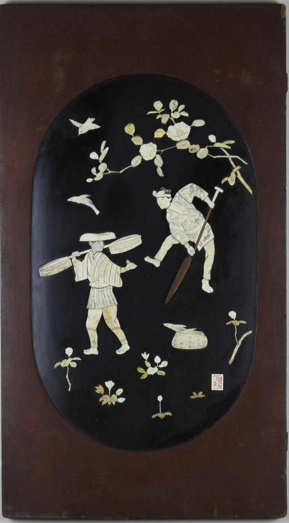 Pair of Japanese Panels with Bone Inlay