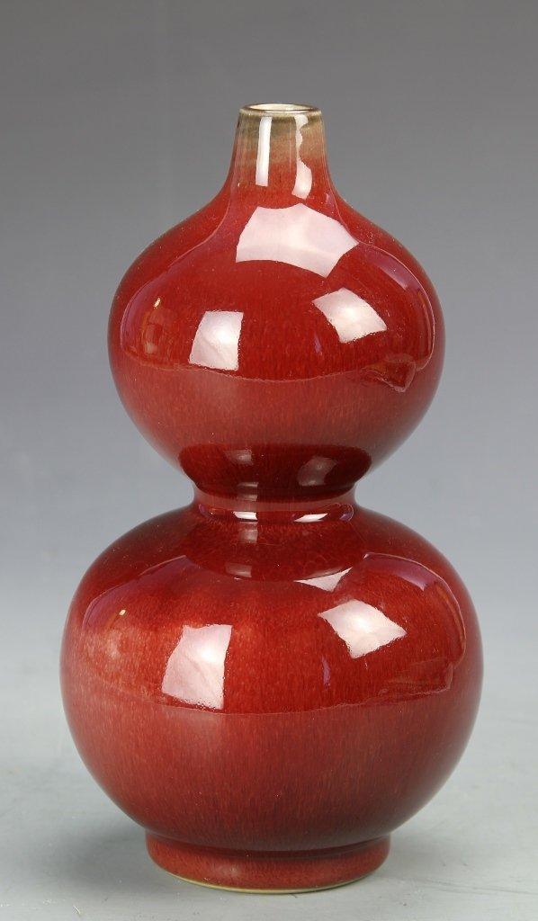 Chinese Red Glazed Gourd Vase