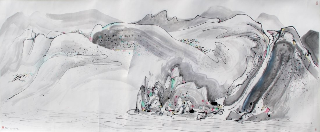 Chinese Scroll Painting, Signed Wu Guanzhong