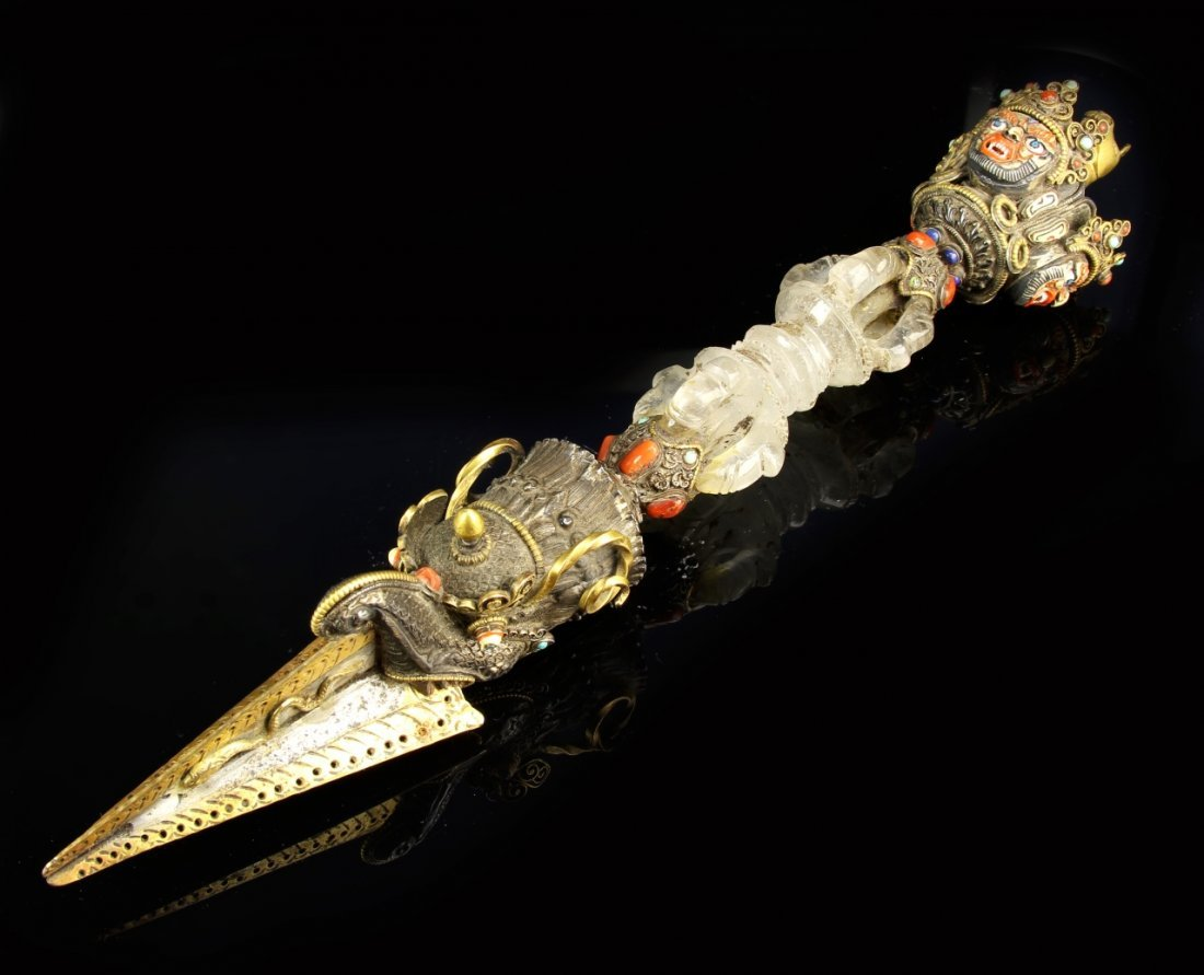 Tibetan Gilt Crystal Buddhist Instrument