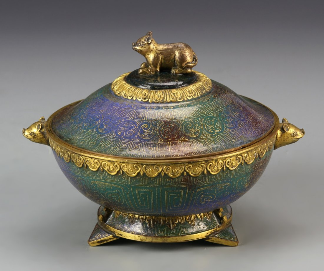 Chinese Enameled and Gilt Bronze Covered Bowl