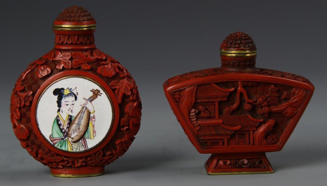 Two Chinese Cinnebar Snuff Bottle