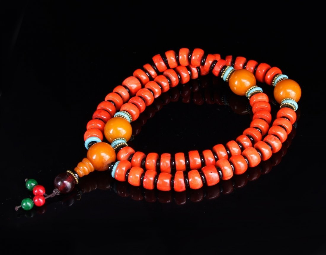 Chinese Tibetan Coral and Wax Bead Necklace