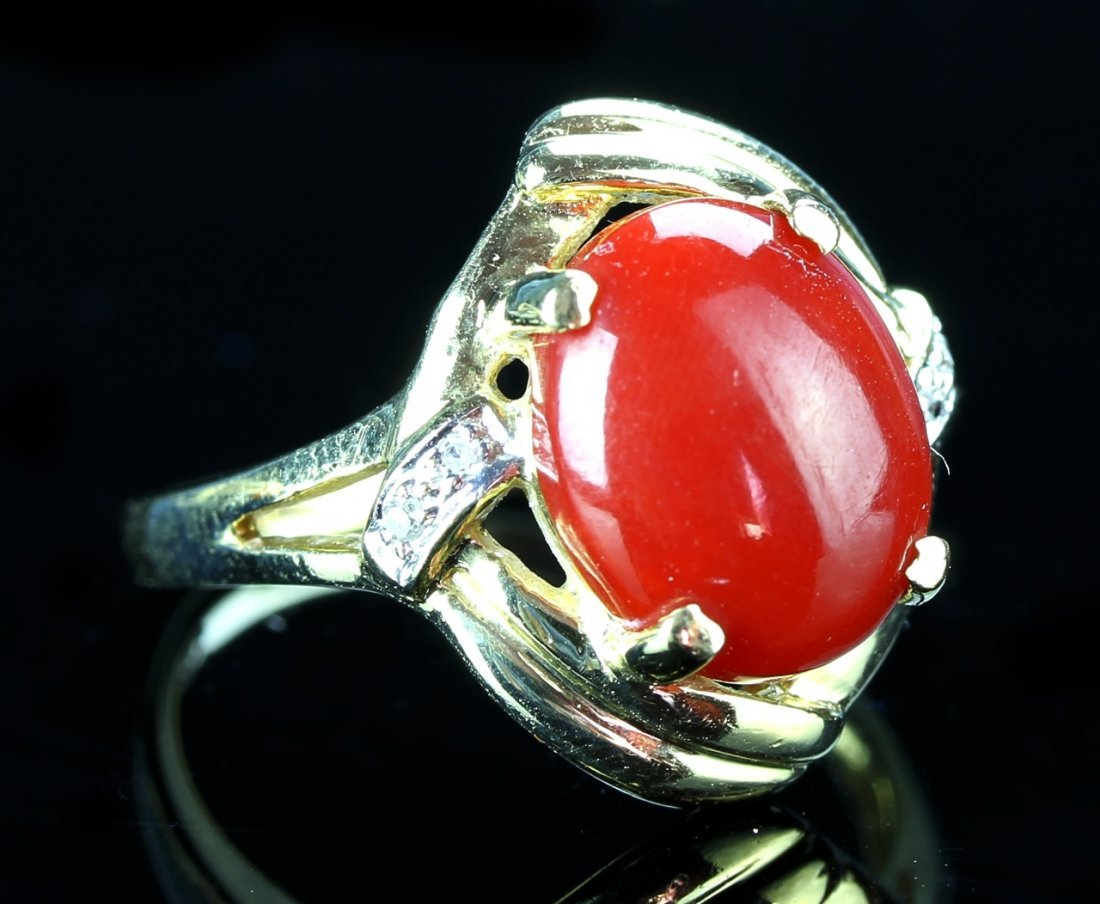 Chinese Gold, Coral, and Diamond Ring