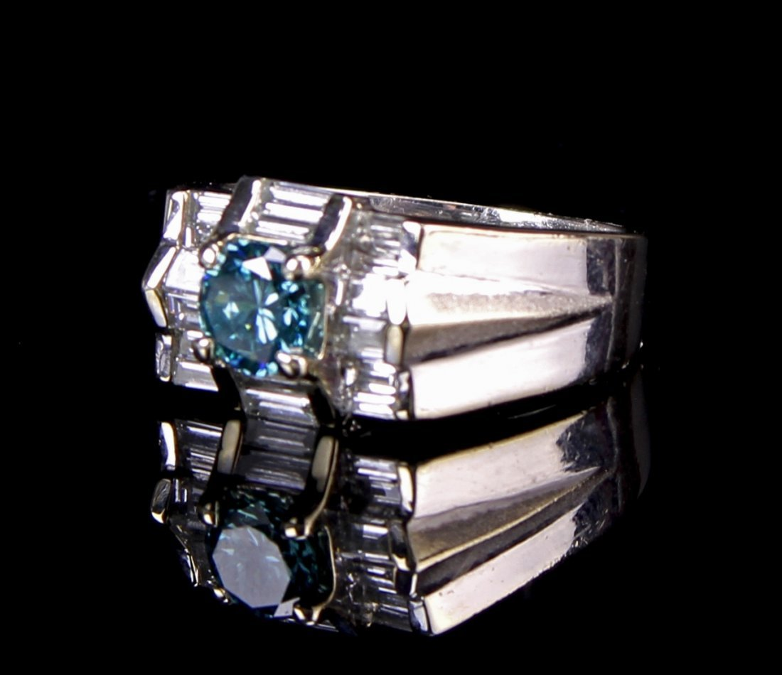 Platinum Blue Ruby Ring
