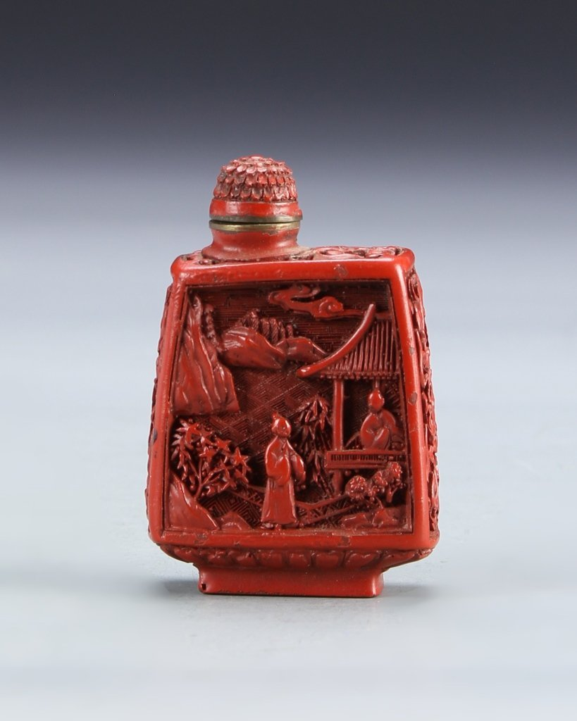 Chinese Cinnabar Square Snuff Bottle
