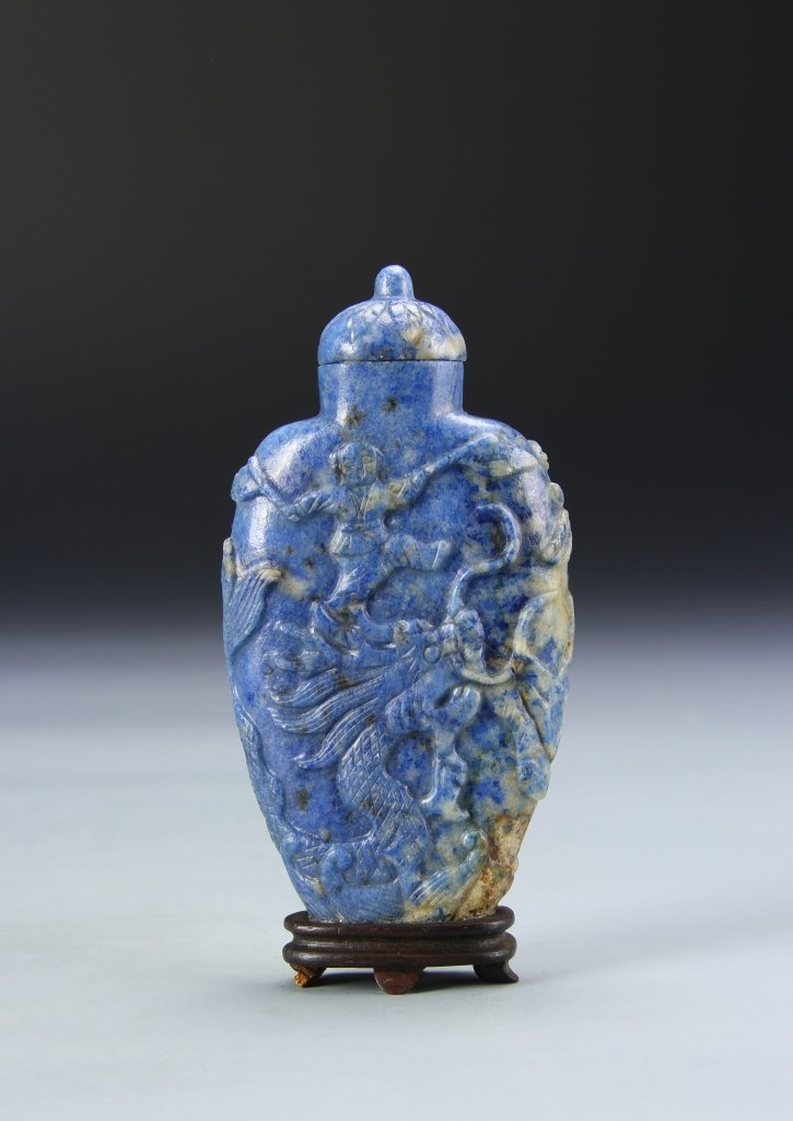 Chinese Lapis Snuff Bottle