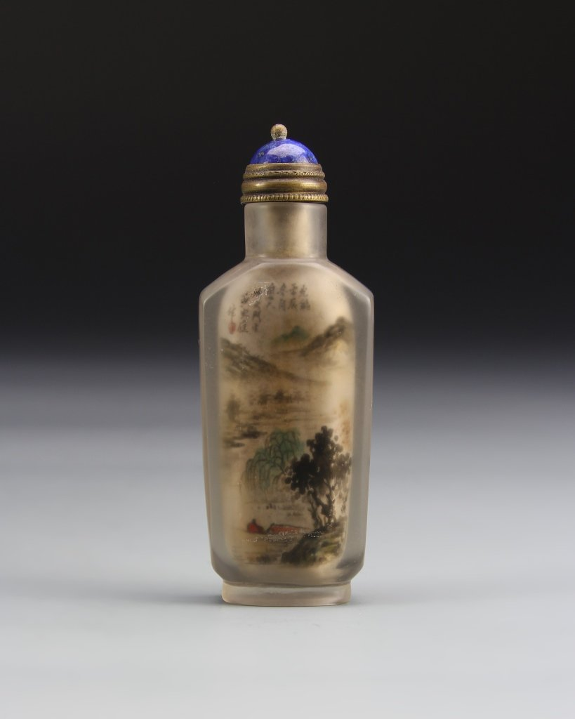 Chinese Painted Crystal Snuff Bottle