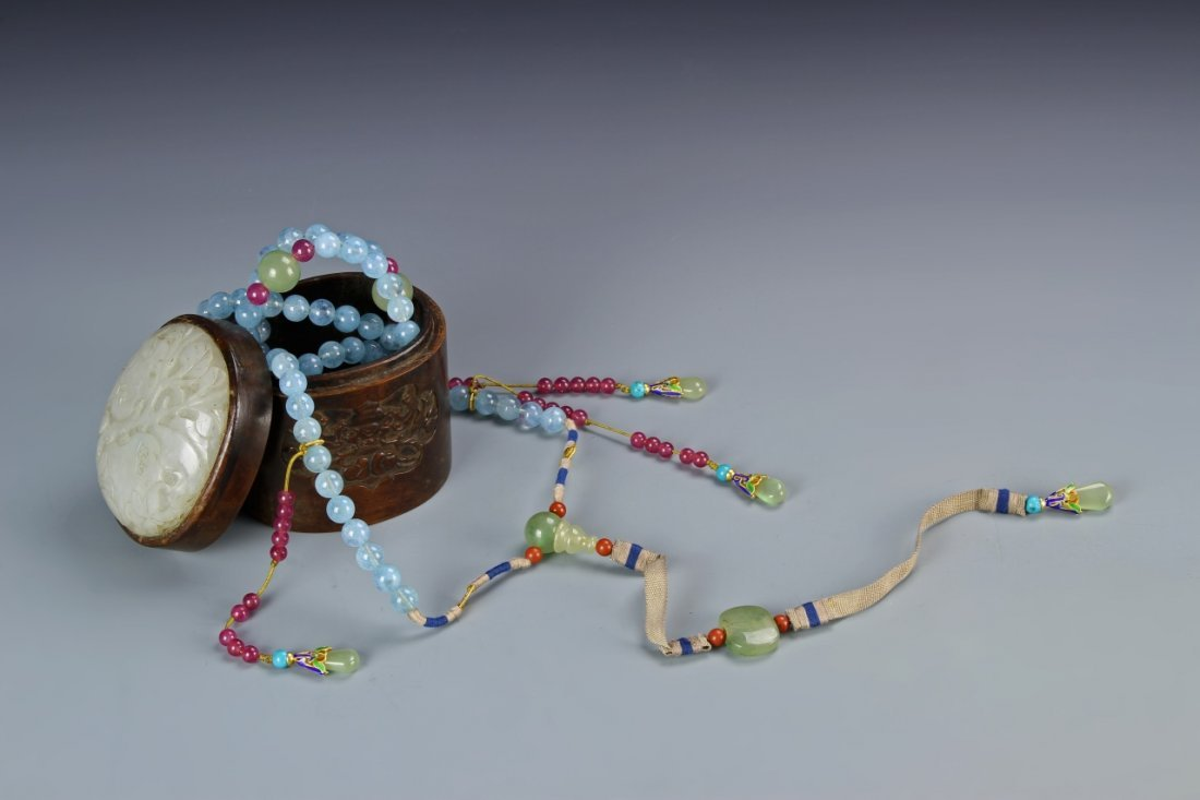 Chinese Aquamarine Court Necklace