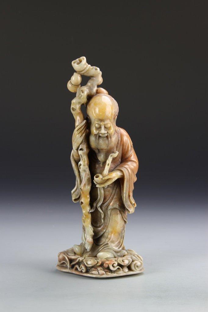 Chinese Carved Shoushan Stone Longevity Figure