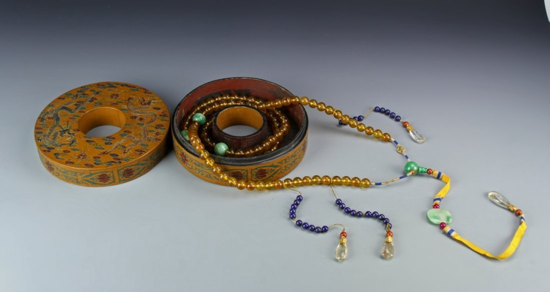 Chinese Qing Imperial Amber Court Necklace