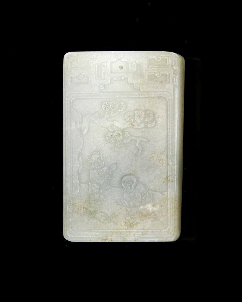 Chinese Antique Jade Square Pendant
