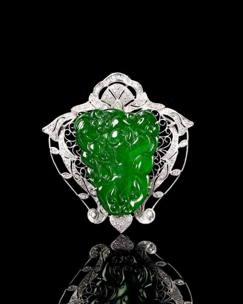Chinese Jadeite Pin with Platinum and Diamonds